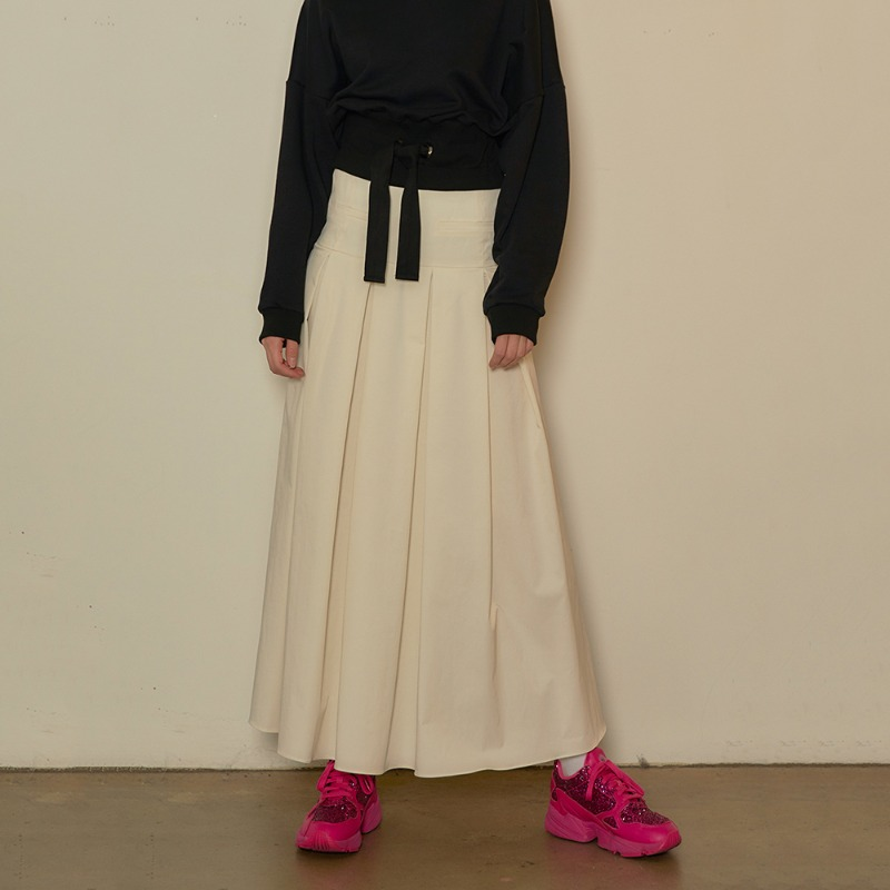2020 S/S [EX.0S0S001-0] Pleats Skirt - Ivory