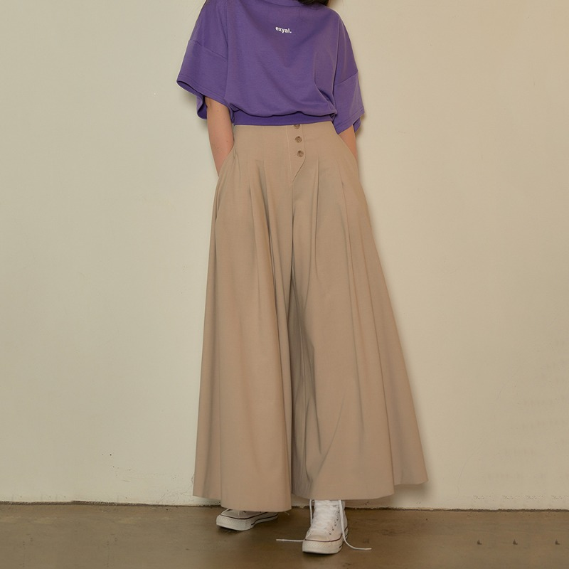 2020 S/S [EX.0S0P001-0] Flare Wide Pants - Light Beige