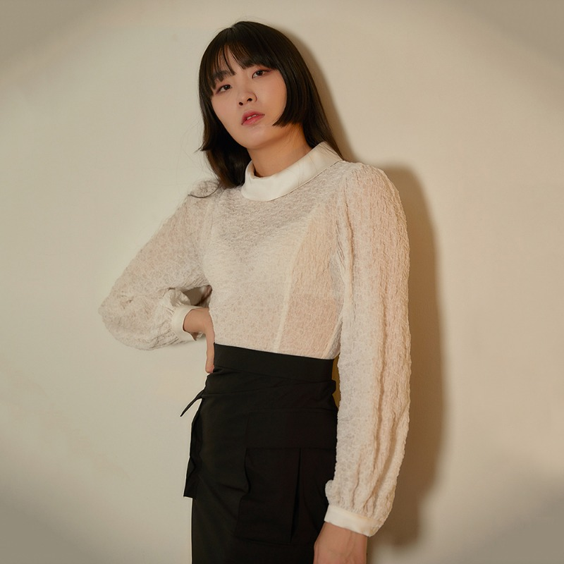 2020 S/S [EX.0S0B001-0] Round Lace Blouse - White