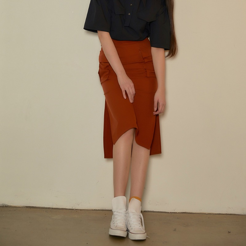 2020 S/S [EX.0S0S002-0] Cargo Midi Skirt - Brown Orange
